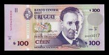 B-D-M Uruguay 100 Pesos Uruguayos 1997 Pick 76b Low Serial SC UNC