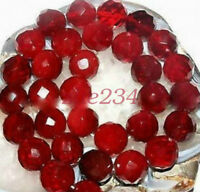 AAA+++ 4-10mm Faceted Natural Red Ruby Gemstone Round Loose Beads 15''beauty