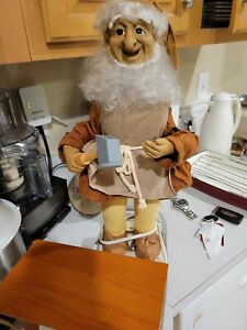 """Vintage 21"""" Animated Telco Motionettes Christmas Elf Santa's Toy Maker w/bench"""