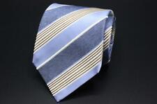 ISAIA NAPOLI Silk Tie. Blue with Brown & White Stripes.