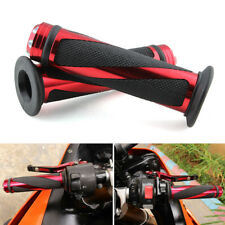 """FOR 7/8"""" HANDLE BAR RED  ALUMINUM MOTORCYCLE RACING CNC RUBBER GEL HAND GRIPS"""