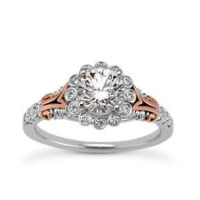 NEW 14k WHITE & ROSE GOLD DIAMOND SEMI-MOUNT FLORAL ENGAGEMENT WEDDING RING
