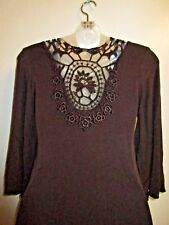 Sky Clothing Brand M Top Tunic Braided Knit Crochet Open Back Brown Fall Party