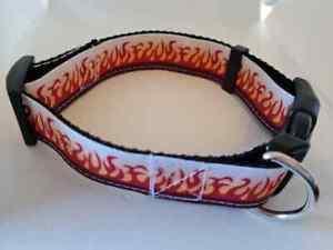 Adjustable dog collar medium with flame print