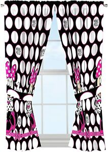 """Disney Minnie Mouse """"Dots Are The New Black"""" Window Panels"""