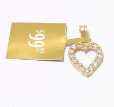w/ Bail Real Solid 10k Yellow Gold Prong Set Clear Cz Open Heart Charm Pendant