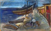 "Russische Avantgarde Öl Leinwand ""Alter Pier"" 43x27 cm"