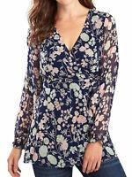 Joe Browns ladies blouse tunic top plus size 16 18 20 22 24 26 30 blue mock wrap