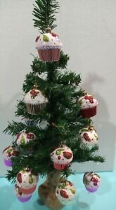 2ft Norway Pine Artificial Christmas Tree With 12 cupcake bauble decorations
