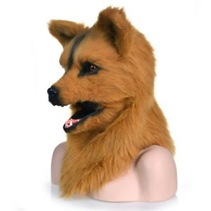 Brown Wolf Mascot Costume Can Move Mouth Head Suit Halloween Outfit Cosplay