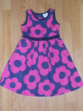 Mini Boden Dress Navy Blue w/ Pink Mod Flowers Size 4-5