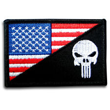 Punisher American US Flag Military Army MORALE Color Patch Iron On Harley Biker