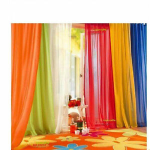 Elegant Solid Sheer Panel Window Curtain - All sizes - All colors - 1 Panel US