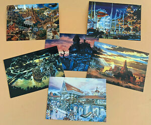 EuroDisneyland Unused Postcard PreOpening Artist Renditions Lot of 6 circa 1991