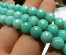 8mm Blue Faceted Brazilian Aquamarine Gems Round Loose Beads 15""
