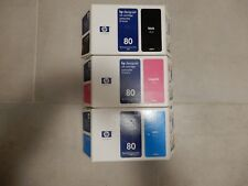 Genuine New Set of 3 HP 80 Ink Sealed Cartridges - OEM C4871A C4874A C4846A
