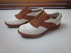 Etonic Women's 7N Leather Golf Stabilites Soft Spike Golf Shoes WhiteTan #SHOE6