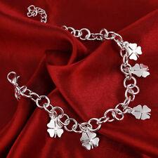 New Silver Plated Four Leaf Clover Shamrock Charm Bracelet Chain Lucky Gift Bag