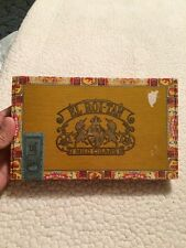 "VTG El Roi-Tan Flor Fina Mild Cigars Box Faux Wooden 9.75"" X 6"" Btown Red Yello2"