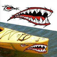 2 diabolici denti dello squalo decalcomanie adesivo barca da pesca canoa