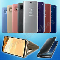 Samsung Galaxy S8 S9+ S10e Clear Smart View Mirror Leather Flip Stand Case Cover