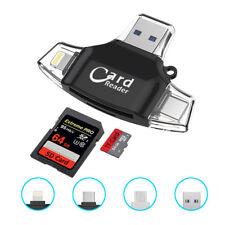 F64 TF & SD OTG Kartenleser für PC Smartphone mit USB Type-C micro B Light ning