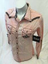 ROAR WOMENS Long Sleeve Shirt Button Down WESTERN MULTI COLOR STONES MEDIUM 686