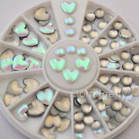 Heart Round 3D Nail Art Studs Mini Rhinestones Decoration For UV Gel 3mm-5mm DIY