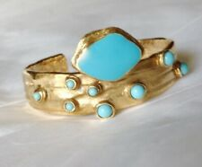 .SHINING As Pure Gold  ✿* YVES SAINT LAUREN Arty Handcrafted Cuff YSL Bracelet .