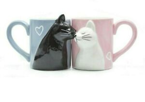 2pcs Kiss Cat Coffee Couple Handmade Mugs Milk Coffee Tea Lover Gift Creative