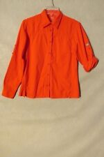 S5411 Low Alpine Women's Medium Red Button Up Adjustable Sleeve Nylon Shirt