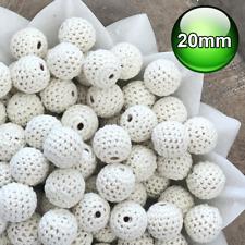 10 x Crochet wood beads 20mm Cream wooden teething baby safe jewellery