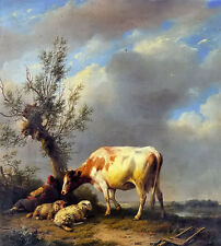 Oil painting the shepherds rest with cow cattle sheep in sunset landscape canvas