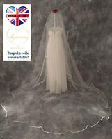 3 M Width Satin Edge Bridal Veil *Cathedral Length*2 Tier/Drop veil