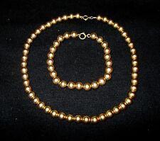 "Set Vtg 14k Gold 7mm Ball Bead 15"" Wheat Chain Necklace 8"" Bracelet O-ring Close"