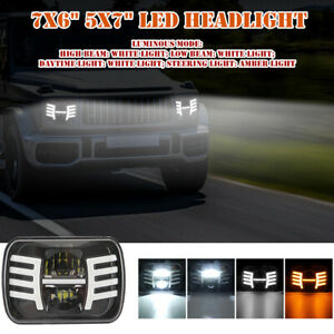 """7x6"""" 5x7"""" LED Headlight DRL Turn Signal Daytime Projector High/Low Beam 40000LM"""