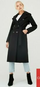 BNWT River Island Double Breasted Longline Belted Coat - Black Size 10 Eu 36