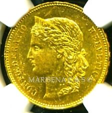 SWITZERLAND 1891 B GOLD COIN 20 FRANCS * NGC CERTIFIED GENUINE MS 60 * FABULOUS