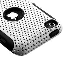 White MESH Hybrid Hard Silicone Rubber Gel Skin Case Cover Apple iPod Touch 4