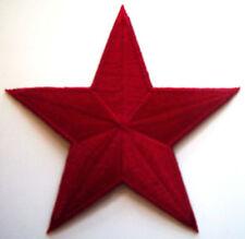 DARK RED 3 inch iron on star patch maroon brick applique punk kid - 139