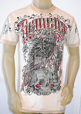 NEW REMETEE by AFFLICTION mens BIRD/SKULL ss graphic crewneck TEE brown *MEDIUM