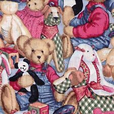 Fat Quarter Teddy and Toys Packed Daisy Kingdom 100% Cotton Quilting Fabric