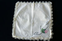 "2 VINTAGE 1940'S OFF WHITE COTTON NAPKINS WITH EMBROIDERY 12"" BY 12"""