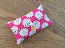 Handmade Packet Tissue Holder Made With Clarke And Clarke Daisy Raspberry Fabric