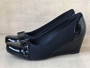 NEW Clarks Flores Poppy Women's Sz 7.5 M Black Patent Leather Wedge Heels