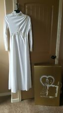 Demure Vintage White Long Sleeve Lace Wedding Dress Floral Beaded XS Bridal Gown