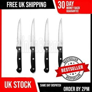SET OF 4 BLACK STAINLESS STEEL SERRATED SHARP STEAK CUTTING KNIFE KNIVES CUTLERY