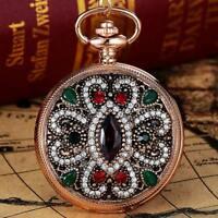 Antique Women Diamond Quartz Analog Fob Pocket Watch Necklace Chain Pendant Gift