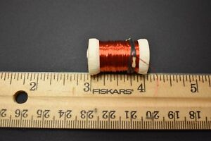 1 RED Spool of  Small  Copper Wire for Fly Tying, 33 Gauge, 12 Yards