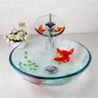 US Bathroom Art Hand Painted Glass Basin Vanity Sink Bowl+Waterfall Faucet Set
